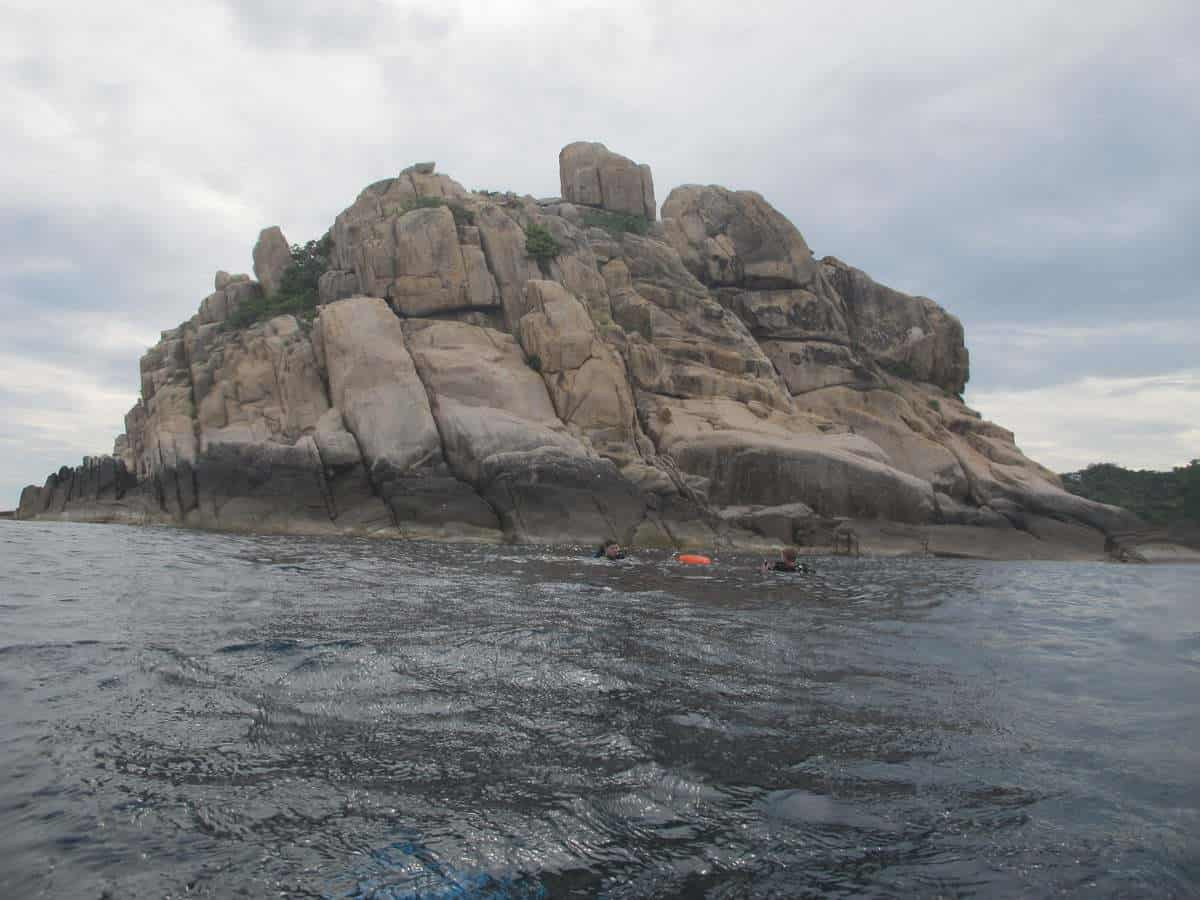 Shark Island, a dive site on the south end of Koh Tao